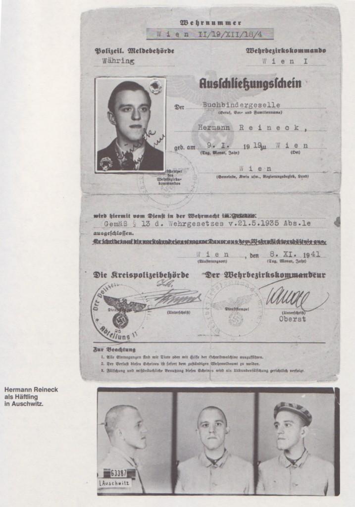 Hermann Reineck als Häftling in Auschwitz